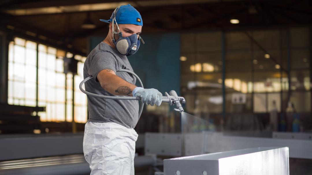 Firma Baltensperger AG Stahlbau Mitarbeiter an der Arbeit